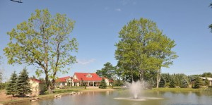 Galluci Winery building with pond and fountain entrance